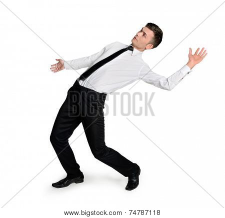 Isolated business man dodge position