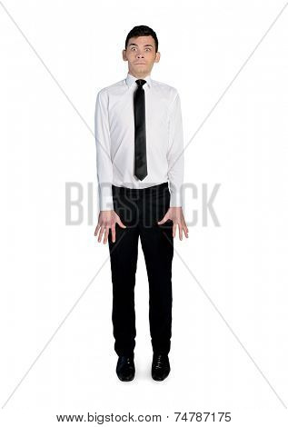 isolated nervous business man on white