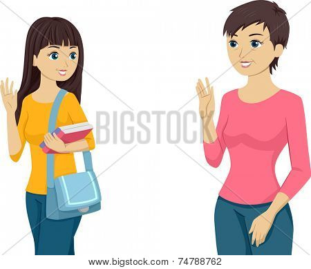 Illustration Featuring a Teenaged Girl Waving Goodbye to Her Mom
