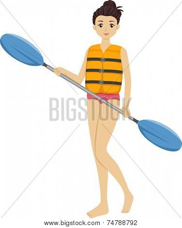 Illustration Featuring a Girl Holding a Kayak Paddle