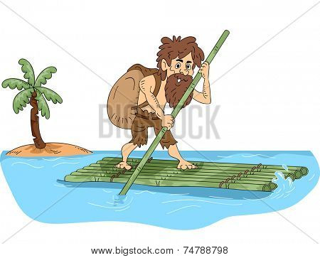 Illustration Featuring a Male Castaway Maneuvering a Bamboo Raft