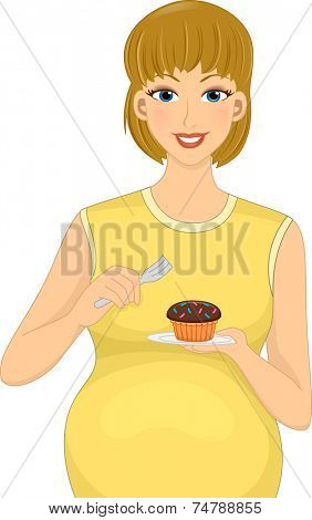 Illustration Featuring a Pregnant Caucasian Eating a Cupcake