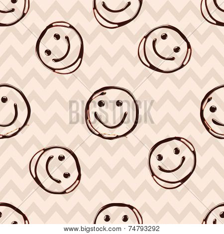 Happy smile chocolate face, seamless patern with geometric shapes.
