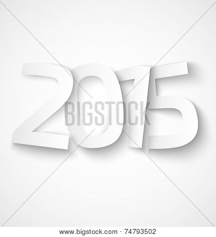 Happy new year 2015 paper text on white background