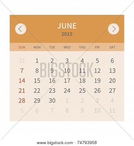 Calendar monthly june 2015 in flat design