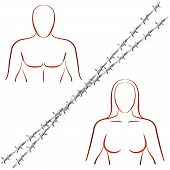 stock photo of loveless  - Outline illustration of a man and a woman who are divided by a barbed wire - JPG