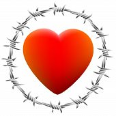 foto of loveless  - Red glowing heart surrounded by barbed wire - JPG