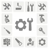 stock photo of mechanical engineer  - working tools isolated icons set of hammer wrench screwdriver and measuring tape vector - JPG