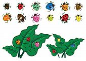 foto of beetle car  - Colorful insect illustrations with green leaves in vector - JPG