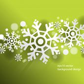 picture of pamphlet  - eps10 vector Christmas overlapping snowflakes green background - JPG