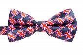 image of bow tie hair  - bow tie with a British flag on an isolated white background - JPG