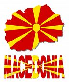 picture of macedonia  - Macedonia map flag and text illustration - JPG
