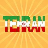 foto of tehran  - Tehran flag text with sunburst illustration - JPG