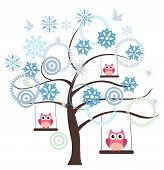 stock photo of snow owl  - vector winter tree with snowflakes and pink owls swinging - JPG