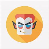 stock photo of inhumane  - Vampire Flat Icon With Long Shadow - JPG