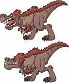 foto of tyrannosaurus  - Cartoon tyrannosaurus roaring and biting - JPG