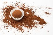 image of truffle  - Chocolate truffle with scattered cocoa powder - JPG