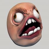 picture of troll  - Angry internet meme troll head 3d illustration isolated - JPG