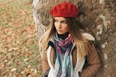 picture of beret  - Beautiful young girl with a red beret - JPG