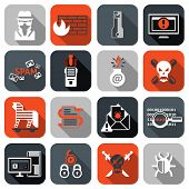 pic of worm  - Hacker web security icons flat set with firewall computer spam isolated vector illustration - JPG