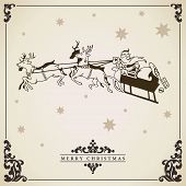 pic of sleigh ride  - Santa Claus rides in a sleigh vector illustration - JPG