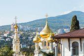 image of cupola  - cupola of Alexander Nevski Cathedral and Yalta city skyline Crimea - JPG