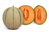 picture of cantaloupe  - orange cantaloupe melon isolated on white background - JPG