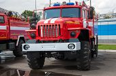 pic of fire brigade  - Fire truck is a motor vehicle chassis equipped with fire fighting equipment equipment used in fire - JPG