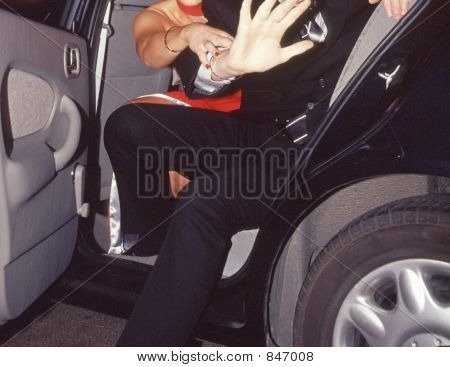 couple getting out of car
