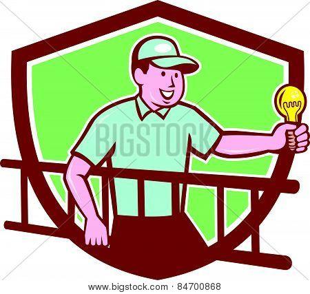 Electrician Ladder Light Bulb Shield Cartoon