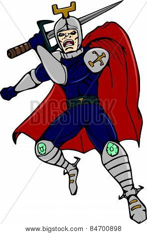 Knight Brandishing Sword Cartoon
