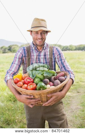 Farmer carrying box of veg on a sunny day