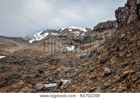 Snow covered Mount Ruapehu and its slope in Tongariro National Park