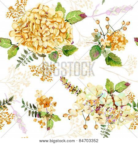 Seamless Pattern. Vector Watercolor Yellow Hydrangea, Lavender. Illustration Of Flowers.