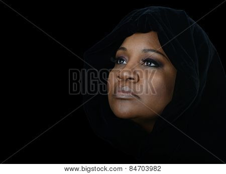 Nice emotional Image of a afro american muslim woman
