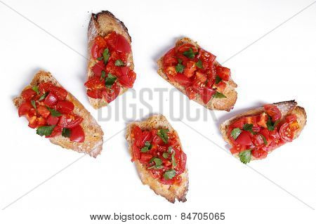 Delicious bruschetta on a white background