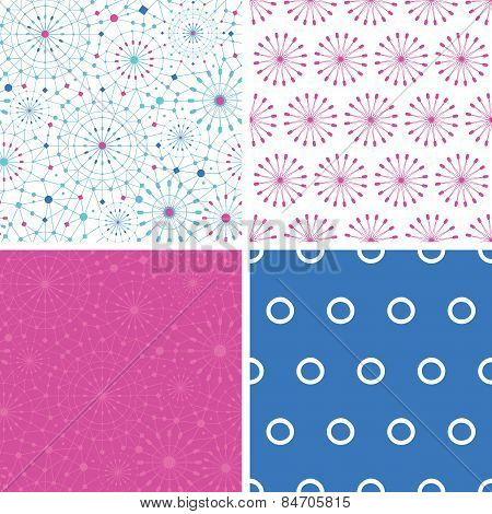 Vector blue abstract line art circles set of four matching repeat patterns backgrounds