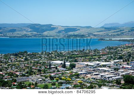Rotorua city view and mountains background
