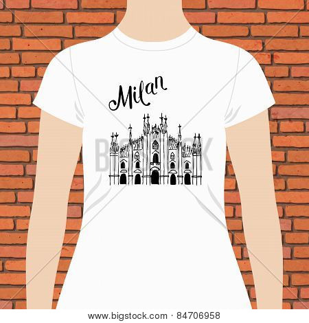 White Shirt with Milan Text and a Church Design