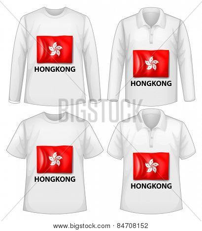 Four design of shirt with Hongkong flag