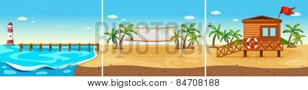 Beach view with volleyball net