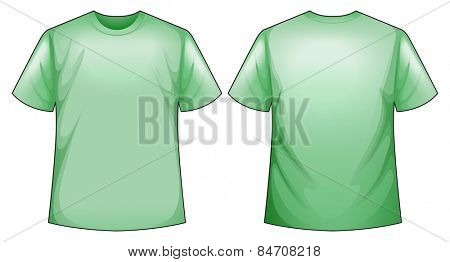 Green t-shirt with front and back view