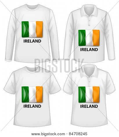 four shirts with ireland flag