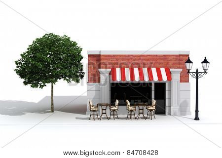 3d store shop front with big windows on white