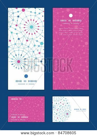 Vector blue abstract line art circles vertical frame pattern invitation greeting, RSVP and thank you