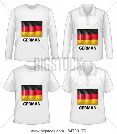Four designs of shirts with German flag