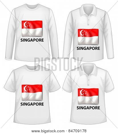 Four designs of shirts with singapore flag