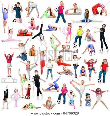 Collage of photos sports children on a white background