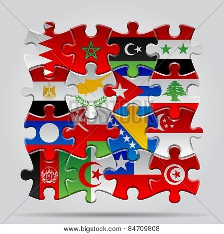 Set of puzzle with World flags. Contain the Clipping Path of every object
