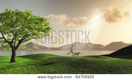 3D render of a female figure jogging in the countryside with her dog